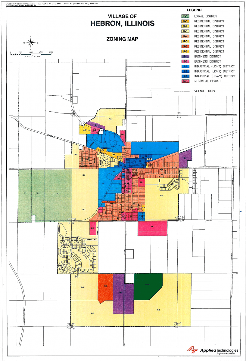 Village of Hebron Illinois Zoning MAp